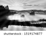 Landscape Of A Lake With Fog...