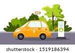 an electric car charges from an ... | Shutterstock .eps vector #1519186394