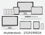 screen mockup. computer monitor ...   Shutterstock .eps vector #1519190024