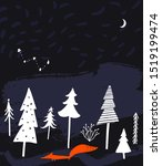 night winter forest landscape...   Shutterstock .eps vector #1519199474