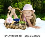 portrait of girl with basket of ... | Shutterstock . vector #151922501