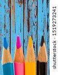 coloured pencils on wooden...   Shutterstock . vector #1519273241