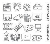cinema line icons on white...   Shutterstock . vector #1519303151