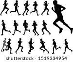 marathon runners silhouettes... | Shutterstock .eps vector #1519334954