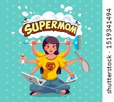 supermom or super mother have... | Shutterstock .eps vector #1519341494