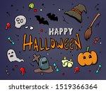 happy halloween party cute ... | Shutterstock . vector #1519366364