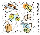 travel concept set of tourism.... | Shutterstock . vector #1519366367