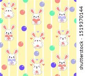 Stock vector baby seamless pattern kawaii hare and rabbit with hearts and balls on a yellow background with 1519370144