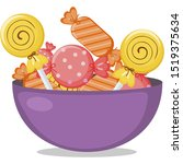 sweet lollipop and candy for... | Shutterstock .eps vector #1519375634