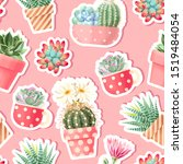 high detail succulent and... | Shutterstock .eps vector #1519484054