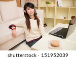young asian woman chatting... | Shutterstock . vector #151952039