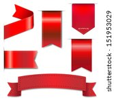 red web ribbons set with... | Shutterstock .eps vector #151953029
