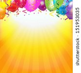 frame with colorful balloons... | Shutterstock .eps vector #151953035