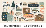 travel stuff. various luggage... | Shutterstock .eps vector #1519545671