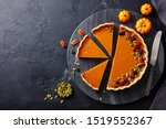 Pumpkin Pie On Marble Cutting...