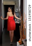 model    red dress | Shutterstock . vector #151958729