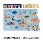 illustrated map of north dakota ...   Shutterstock .eps vector #1519600001