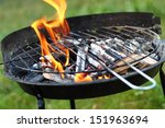fire in barbecue grill | Shutterstock . vector #151963694