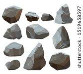 Stones Cartoon. Rock Mountains...