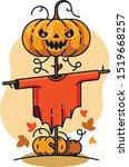 scarecrow pumpkin halloween... | Shutterstock .eps vector #1519668257