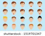 set of men's emotions and hair. ... | Shutterstock .eps vector #1519701347