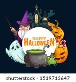 halloween horror pumpkins with... | Shutterstock .eps vector #1519713647