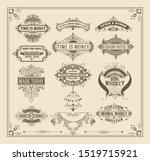vintage badges  set with floral ... | Shutterstock .eps vector #1519715921