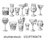 hand drawn cocktail. alcoholic... | Shutterstock . vector #1519740674