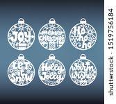 set of christmas balls... | Shutterstock .eps vector #1519756184