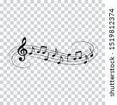 music notes  music waves ... | Shutterstock .eps vector #1519812374