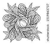 black and white autumn ornament.... | Shutterstock .eps vector #1519863737