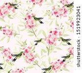 Cute Hummingbird And Pink...