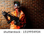 Crazy Evil Clown Man Stained I...