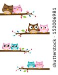 couples owl on the branch | Shutterstock .eps vector #152006981