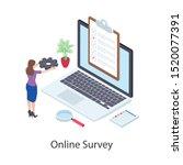 online survey  questionnaire...   Shutterstock .eps vector #1520077391