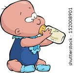 baby with a bottle of milk... | Shutterstock .eps vector #152008901