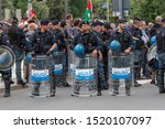 Small photo of Milan, Italy - May 04 2019: Riot Police during an Anarchic demonstration in Milan