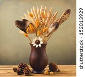 Dried Flowers In Wooden Vase...
