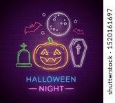 halloween night neon sign.... | Shutterstock .eps vector #1520161697