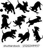 Stock vector black silhouettes puppies in different poses funny puppies that play jump and lie 1520249957