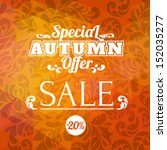 autumn sale vector retro poster ... | Shutterstock .eps vector #152035277