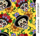 day of the dead sugar skull ... | Shutterstock .eps vector #1520392847