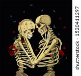 graphic skeletons isolated on...   Shutterstock .eps vector #1520411297