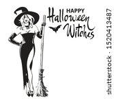 happy halloween witches hand... | Shutterstock .eps vector #1520413487