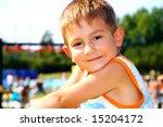 Kid on a recreation area - stock photo