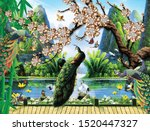 3d mural paint illustration background with flowers and mountain , decorative and golden Jewelery  wallpaper . colored peacock