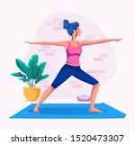 woman doing yoga at home vector ... | Shutterstock .eps vector #1520473307