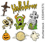 cartoon halloween colorful hand ... | Shutterstock .eps vector #1520491571