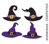 set of witch hats for halloween ... | Shutterstock .eps vector #1520537414