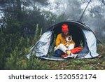 Tourist Traveler In Camp Tent...